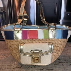Limited edition coach basket beige straw tote bag